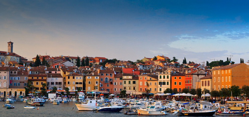 Colorful houses on Mediterranean seashore of Rovinj, Croatia.