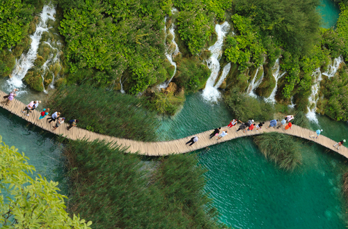 A path over Plitvice lake, Croatia