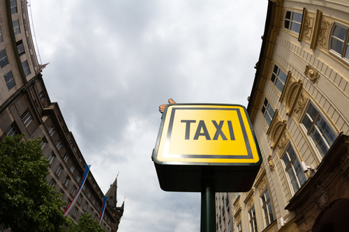 A taxi sign.