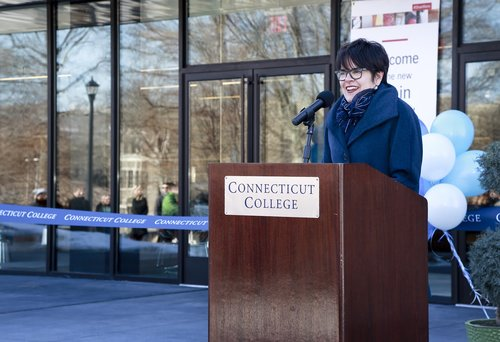 NEW LONDON, CT  Re-dedication ceremony for Connecticut College's Shain Library which reopened after a nearly $10 million renovation.