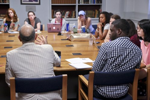 First Year Seminar classes discuss assigned readings in relation to the school's Honor Code.
