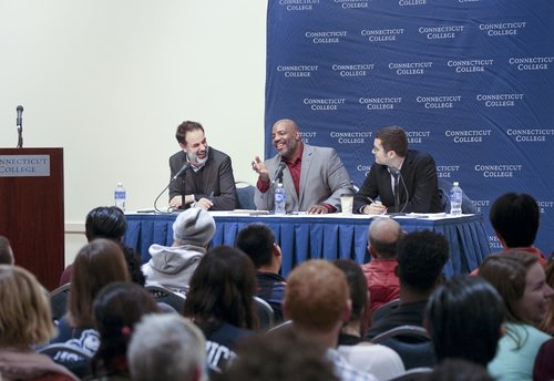 NEW LONDON, CT  Connecticut College hosted a dialogue between writers Jelani Cobb, of the New Yorker and Conor Friedersdorf, of the Atlantic about race, free speech and coddling of students on college campuses. The discussion, which was narrated by John Dankosky, drew a large crowd that packed the 1941 Room in the College Center at Crozier-Williams.