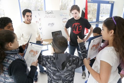 NEW LONDON, CT  Connecticut College students lead children from New London piblic schools in a study of world languages at the 2016 Children's Symposium.