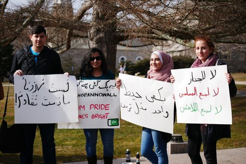 """More than 100 campus and local community members gathered on Tempel Green Wednesday, Feb. 8 for the """"Stand of Collective Resistance and Solidarity,"""" an event to show solidarity for various causes."""