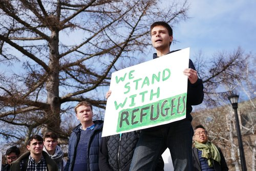 "More than 100 campus and local community members gathered on Tempel Green Wednesday, Feb. 8 for the ""Stand of Collective Resistance and Solidarity,"" an event to show solidarity for various causes."