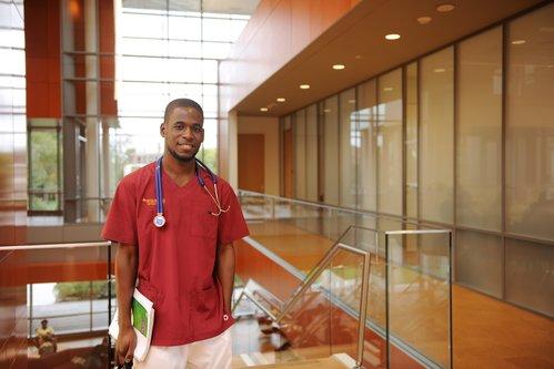 Nursing student in the Nexus Building.