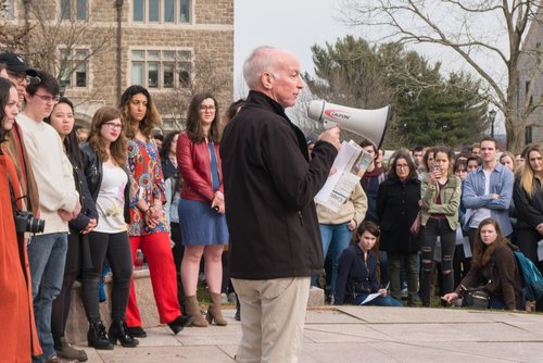 Congressman Joe Courtney (D-CT) speaks to students at a Conn rally to address gun violence.