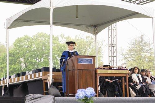Commencent Speaker Jasmine Hughes '12 and President Katherine Bergeron
