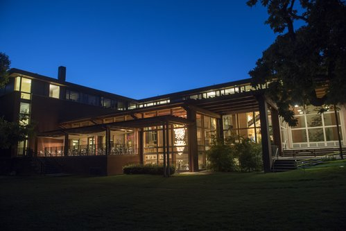 An evening shot of Reid Campus Center from the outside.