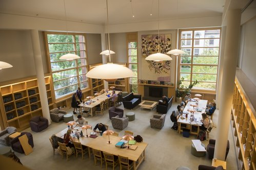 Students study and work on projects in the Penrose Library in 2016.