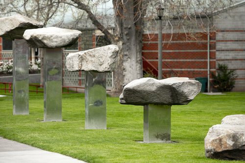 Campus sculptures, artwork and fountains are displayed around Whitman College in April 2019.