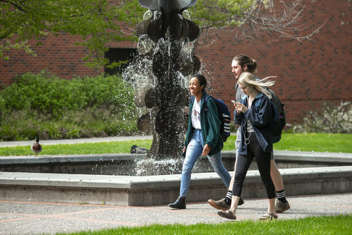 Photos of students around campus in spring 2019.