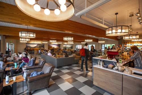 Students study, grab a coffee and mid-morning snack in the Jewett Cafe in April 2019. The cafe was remodeled in fall 2018.