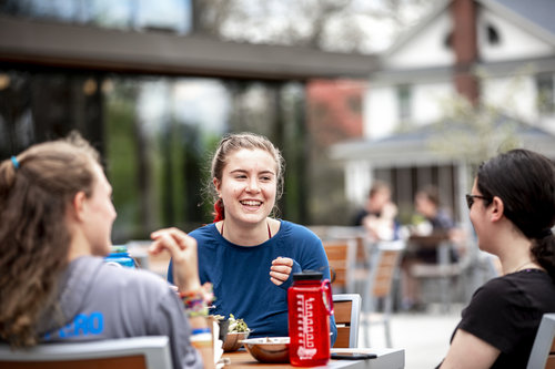 Students eat lunch in Cleveland Commons Dining Hall on April 23, 2019.
