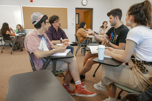 Assistant Professor Matt Bost leads a discussion during his RGET 387 class in Olin Hall in spring 2019.