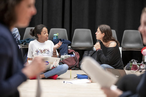 Jessica Cerullo leads students in a beginning acting class in the Nancy Simon Acting Classroom in Harper Joy Theatre in April 2019. The class began with a warm up exercise, then discussion over techniques and a cold-read. Jessica Boyland '21 (left)
