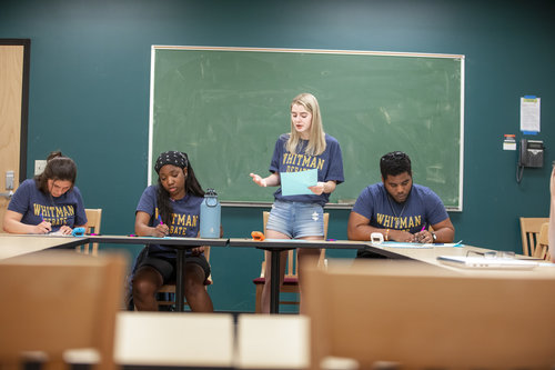 Members of Whitman College's Debate team participate in a practice in Maxey Hall in April 2019.