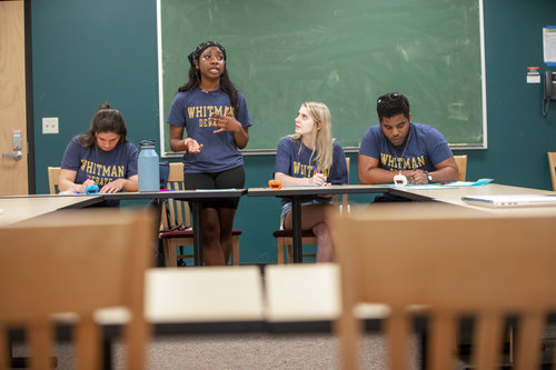 Members of Whitman College's Debate team participate in a practice in Maxey Hall in April 2019. Jordon Crawford
