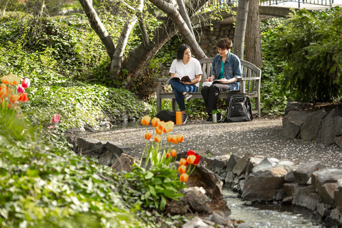 Haley King '20, (jean jacket) and Tasi Jones '22 (white shirt) hang out and study around Lakum Duckum, College Creek and Narnia in April 2019.