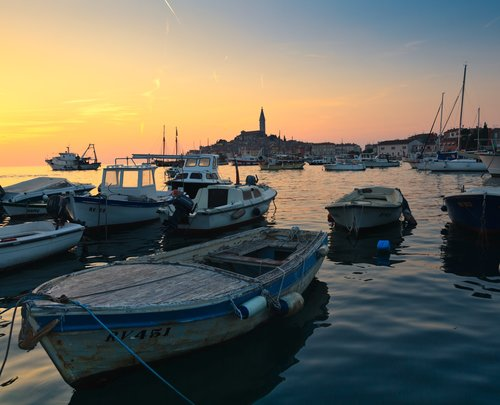 Old boat in Rovinj bay, Croatia.